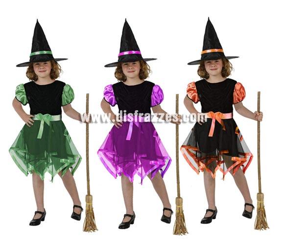 Disfraz de Bruja cintas de color infantil para Halloween. Talla de 5 a 6 años. Tres colores surtidos. Escoba NO incluida, podrás verla en la sección de Complementos para Halloween.