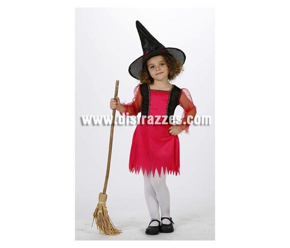 Disfraz de Bruja Rosa infantil para Halloween super barato. Talla de 7 a 9 años. Escoba NO incluida, podrás verla en la sección de Complementos de Halloween.