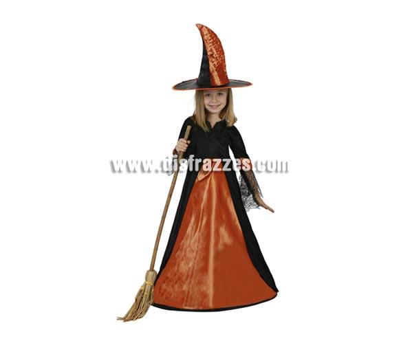Disfraz de Bruja elegante naranja infantil para Halloween. Talla de 10 a 12 años. Escoba NO incluida, podrás verla en la sección de Complementos para Halloween.