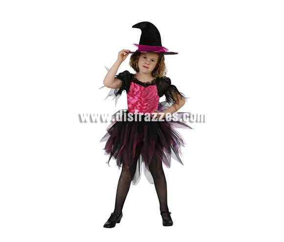 Disfraz de Bruja rosa/negro infantil para Halloween. Talla de 5 a 6 años.