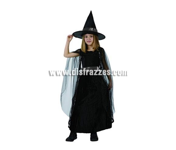 Disfraz de Bruja o Brujilla Negra infantil para Halloween. Talla de 7 a 9 años. Éste disfraz de Halloween es ideal para celebrar la Fiesta de la Noche de las Brujas.