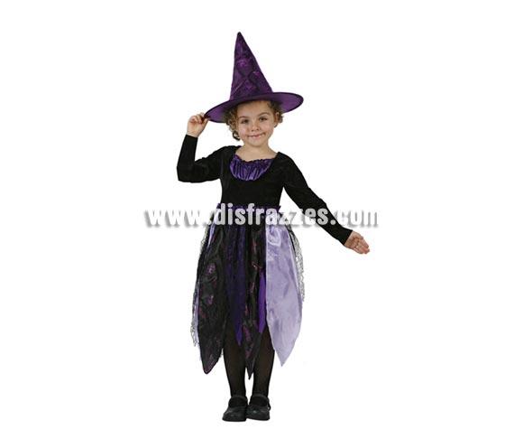 Disfraz de Bruja Murciélago infantil para Halloween. Talla de 5 a 6 años. Incluye vestido y sombrero.