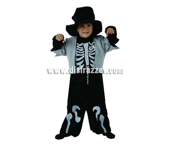 Disfraz de Esqueleto elegante infantil para Halloween. Talla de 3 a 4 años.