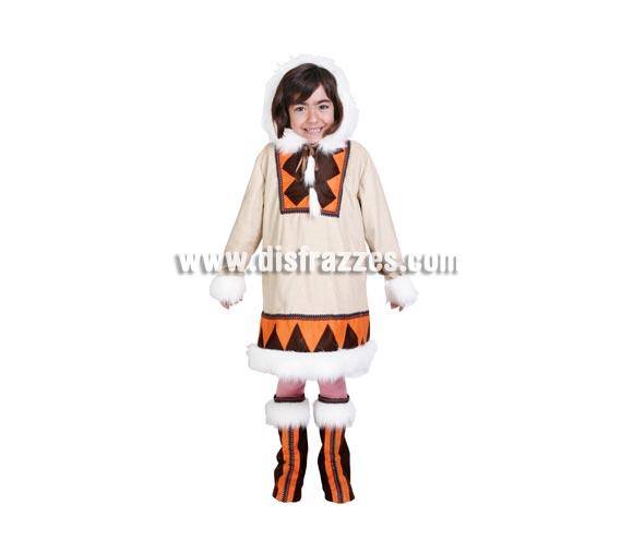 Disfraz de Esquimal niña. Alta calidad. Hecho en España. Disponible en varias tallas. Incluye traje con capucha y cubrebotas.