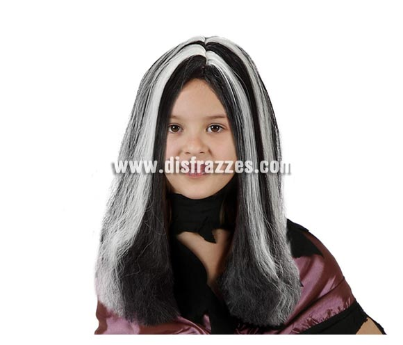 Peluca de Bruja o Morticia blanca y negra infantil para Halloween. Talla estándar de niñas.