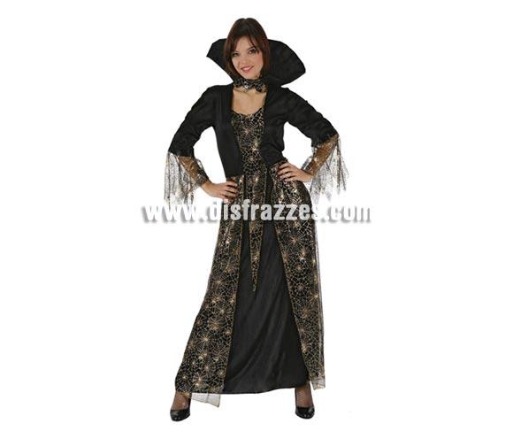 Disfraz de mujer con telarañas doradas para Halloween. Talla única 38/42.
