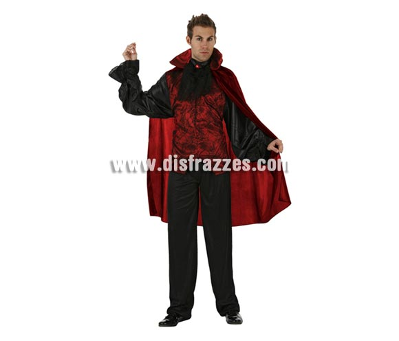 Disfraz de Emperador de la Oscuridad adulto para Halloween. Talla standar M-L = 52/54. Disfraz de Drácula o Vampiro para dar miedo en Halloween.