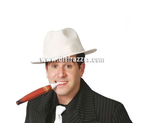 Sombrero Alcapone flocado blanco. Sombrero de Ganster.