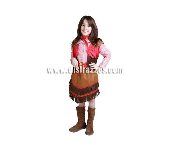 Disfraz de Vaquera infantil para Carnaval. Alta calidad. Hecho en España. Disponible en varias tallas. Botas NO incluidas.