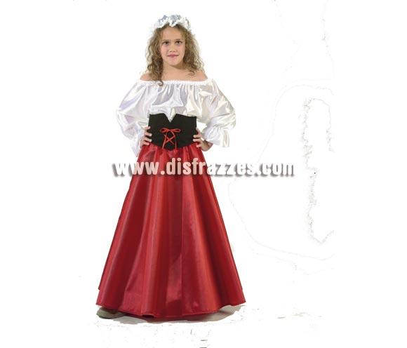 Disfraz de Doncella Medieval infantil. Alta calidad. Hecho en España. Disponible en varias tallas. Incluye gorro, camisa, fajín y falda.