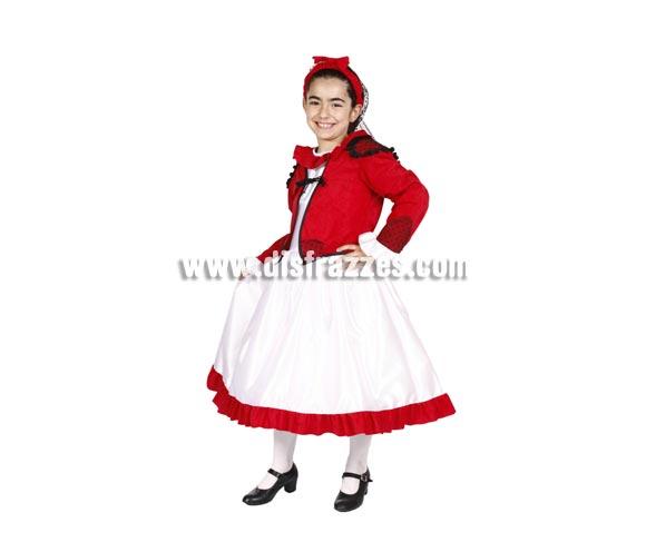 Disfraz de Goyesca infantil para San Isidro. Alta calidad. Hecho en España. Disponible en varias tallas. Incluye vestido, chaquetilla, redecilla y tocado de la cabeza.