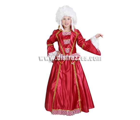 Disfraz de Dama de Época infantil niña. Alta calidad. Hecho en España. Disponible en varias tallas. Peluca NO incluida, podrás verla en la sección Pelucas.