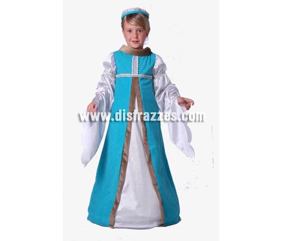 Disfraz de Jimena Medieval infantil. Alta calidad. Hecho en España. Disponible en varias tallas. Incluye vestido y diadema.