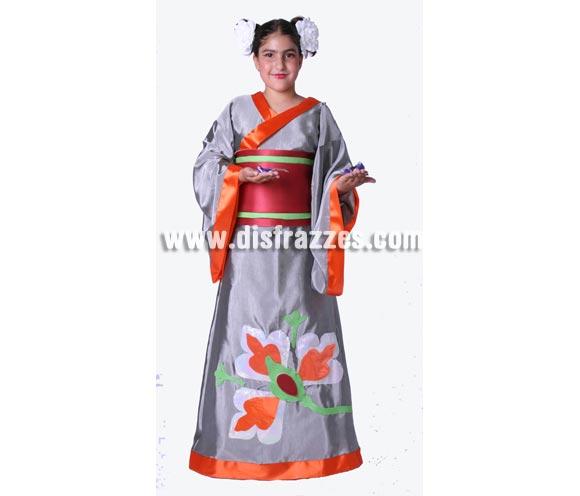 Disfraz de Geisha infantil para Carnaval. Alta calidad. Hecho en España. Disponible en varias tallas. Flores NO incluidas.