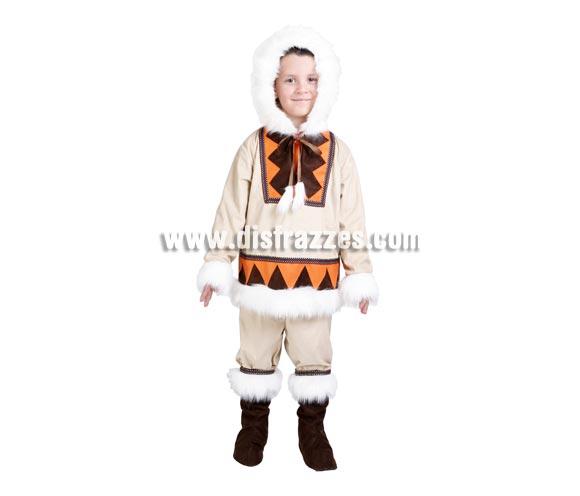 Disfraz de Esquimal infantil para Carnaval. Alta calidad. Hecho en España. Disponible en varias tallas. Incluye chaqueta con capucha, pantalones y cubrebotas.