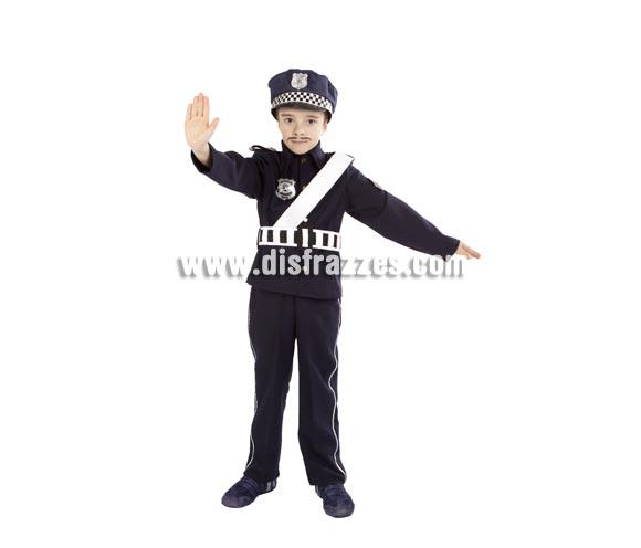 Disfraz de Policía infantil para Carnaval. Alta calidad. Hecho en España. Disponible en varias tallas. Incluye pantalones, chaqueta y gorra.