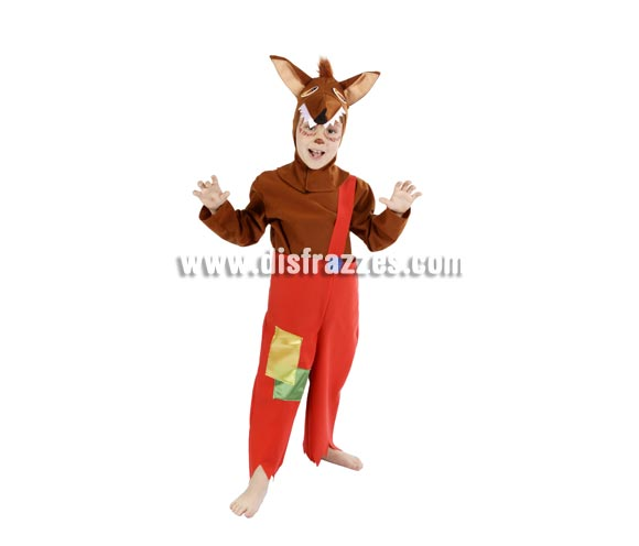 Disfraz de Lobo infantil para Carnaval. Alta calidad. Hecho en España. Disponible en varias tallas. Incluye pantalones, camisa y capucha con forma de lobo.