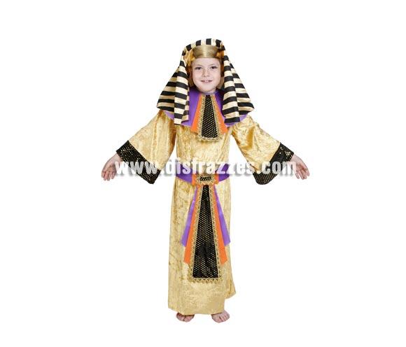 Disfraz de Egipcio infantil. Alta calidad. Hecho en España. Disponible en varias tallas. Incluye túnica, cinturón, cuello y tocado de la cabeza.