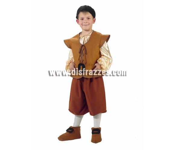 Disfraz de Escudero o Sancho Panza infantil. Alta calidad. Hecho en España. Disponible en varias tallas. Incluye gorro, camisa, chaleco, cinturón, pantalones y cubrepies.