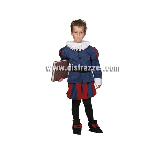 Disfraz de Cervantes infantil. Alta calidad. Hecho en España. Disponible en varias tallas. Incluye cuello, chaqueta, cinturón, pantalones y cubrepies.