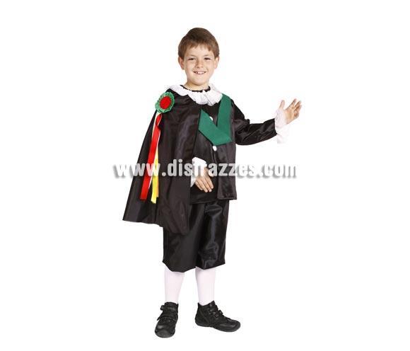Disfraz de Tuno infantil. Alta calidad. Hecho en España. Disponible en varias tallas. Incluye pantalón, camisa, capa, cuello y cintas.