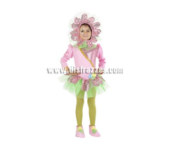 Disfraz de Flor Primavera infantil. Alta calidad. Hecho en España. Disponible en varias tallas. Incluye capucha, vestido y cubrepies. Éste disfraz tembién ha salido en Cabalgatas de Navidad con Elfos y Duendes del bosque.