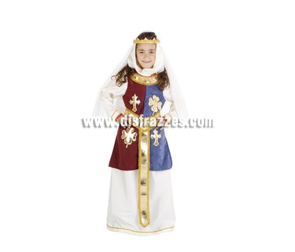Disfraz de Reina Ginebra infantil. Alta calidad. Hecho en España. Disponible en varias tallas. Incluye vestido, cinturón, velo y corona.