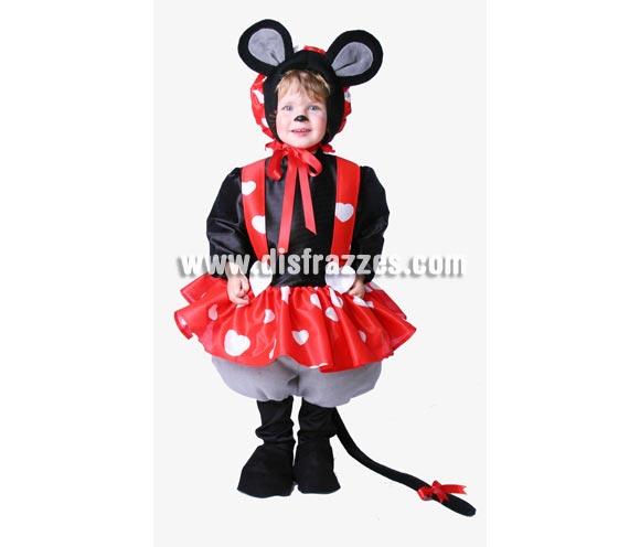 Disfraz de Ratoncita infantil. Alta calidad. Hecho en España. Disponible en varias tallas. Incluye gorro con orejas, camisa, vestido, pantalones con cola y piernas. Para jugar a ser Minnie Mouse.