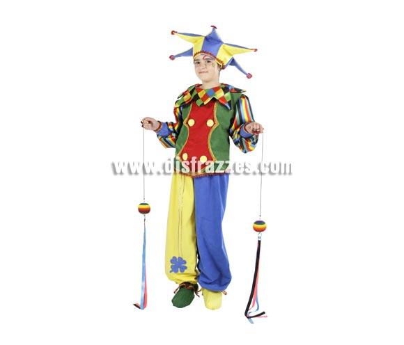 Disfraz de Arlequín infantil. Alta calidad. Hecho en España. Disponible en varias tallas. Incluye gorro, cuello, chaqueta, pantalón y cubre pies.