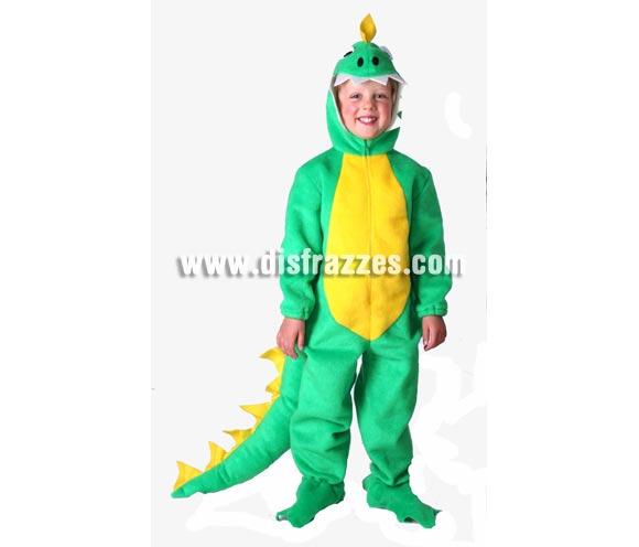 Disfraz de Dinosaurio o Dragón infantil. Alta calidad. Hecho en España. Disponible en varias tallas. Incluye mono con capucha y cubrepies.