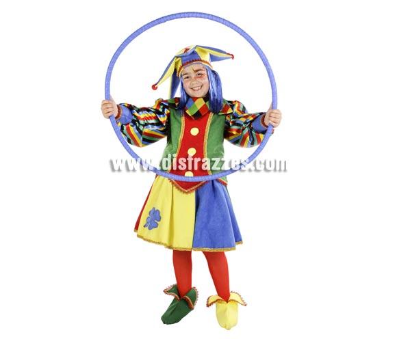 Disfraz de Arlequín infantil niña. Alta calidad. Hecho en España. Disponible en varias tallas. Peluca, aro y medias NO incluidas.