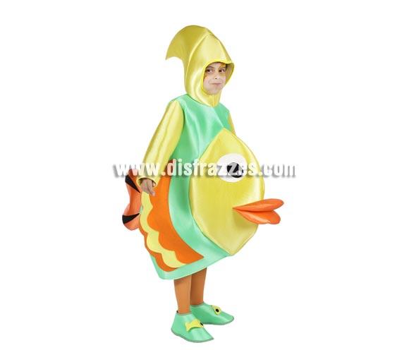 Disfraz de Pez Tropical infantil. Alta calidad. Hecho en España. Disponible en varias tallas. Incluye traje con capucha y cubrepies.