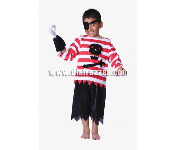 Disfraz de Pirata Garfio infantil niño. Buena calidad. Hecho en España. Disfraz de pirata barato disponible en varias tallas. Incluye parche, camisa, pantalón y garfio de tela.