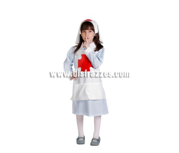 Disfraz de Enfermera infantil. Buena calidad. Hecho en España. Disponible en varias tallas. Incluye cofia, delantal y vestido.