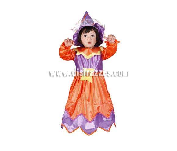 Disfraz de Brujita infantil para Halloween. Buena calidad. Hecho en España. Disponible en varias tallas. Incluye vestico con cinturón y sombrero.