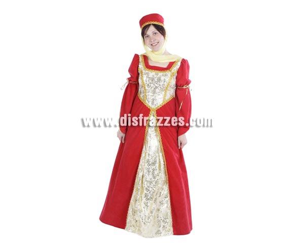 Disfraz de Leonor adulta para Ferias Medievales. Alta calidad. Hecho en España. Talla única 40/44. Incluye sombrero con velo y vestido.
