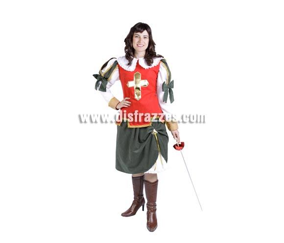 Disfraz de Espadachina adulta para Carnaval. Disfraz de Mosquetera. Alta calidad. Hecho en España. Talla única 40/44. Espada y botas NO incluidas.