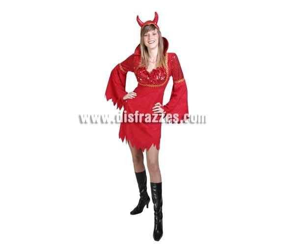 Disfraz de Diablesa o Demonia adulta para Halloween. Alta calidad. Hecho en España. Talla única 40/44. Incluye vestido, cuello y tocado con cuernos.