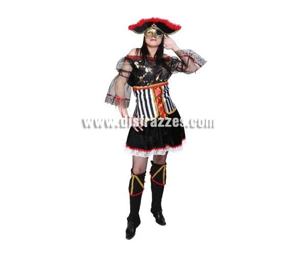 Disfraz de Pirata Sexy adulta para Carnaval. Alta calidad. Hecho en España. Talla única 40/44. Máscara SÍ incluida.