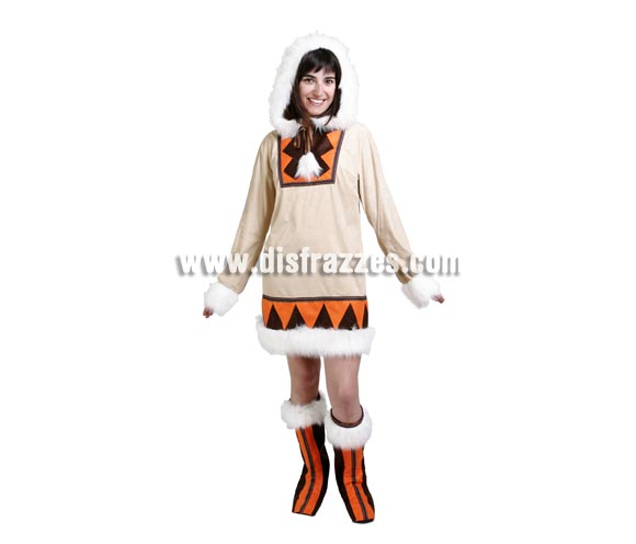 Disfraz de Esquimal mujer adulta para Carnaval. Alta calidad. Hecho en España. Talla única 40/44. Incluye casaca con capucha y cubrebotas.