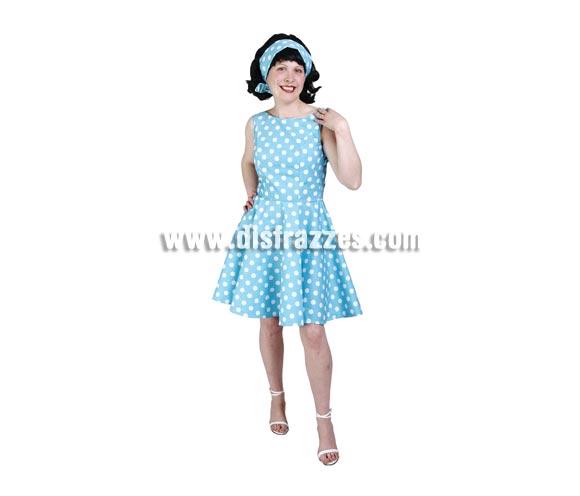 Disfraz de Chica Yeyé adulta para Carnavales. Alta calidad. Hecho en España. Talla única 40/44. Incluye vestido y cinta del pelo. Peluca NO incluida, podrás verla en la sección Complementos. Disfraz de los años 70 para mujer.