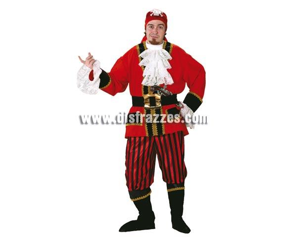 Disfraz de Pirata Bucanero adulto para Carnaval. Alta calidad. Hecho en España. Talla única 50. Incluye pañuelo, casaca, pechera, cinturón, pantalones y cubrebotas.