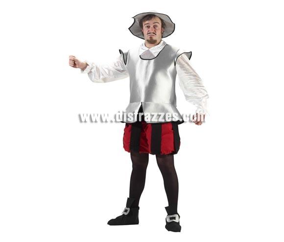 Disfraz de Caballero Don Quijote de la Mancha, el ilustre Hidalgo, adulto. Alta calidad. Hecho en España. Talla única 52/56. Incluye sombrero, camisa, armadura de tela, pantalón y cubrepies.