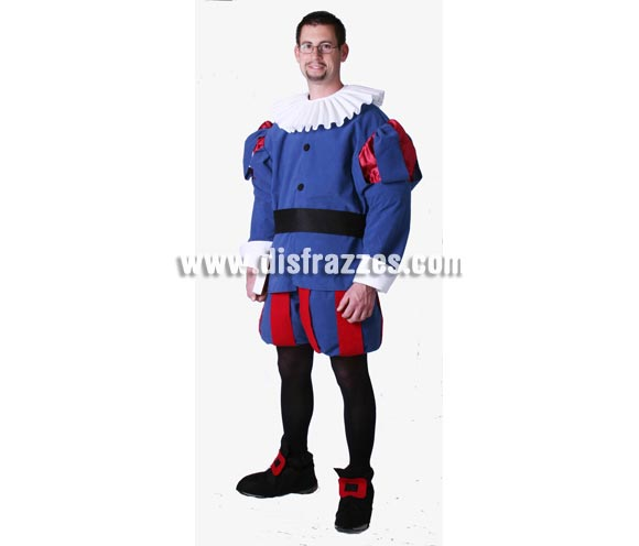 Disfraz de Cervantes adulto Medieval. Alta calidad. Hecho en España. Talla única 52/56. Incluye cuello, casaca, cinturón, pantalones y cubrepies.