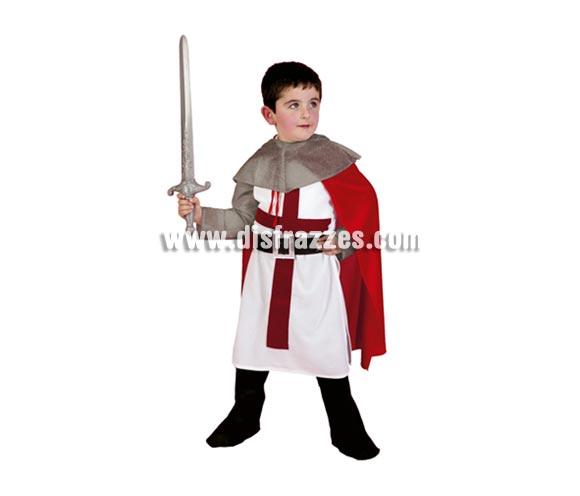 Disfraz de Caballero Medieval barato para Carnaval. Talla de 5 a 6 años. Incluye verdugo, casaca, cinturón, pantalones, botas y capa. Espada NO incluida, podrás verla en la sección de Complementos.