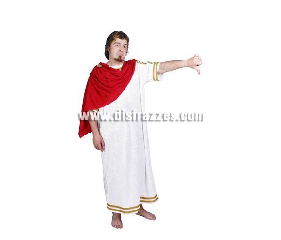 Disfraz de Romano adulto para Carnaval. Alta calidad. Hecho en España. Talla única 52/56. Incluye corona laurel, túnica y sobre-túnica roja.