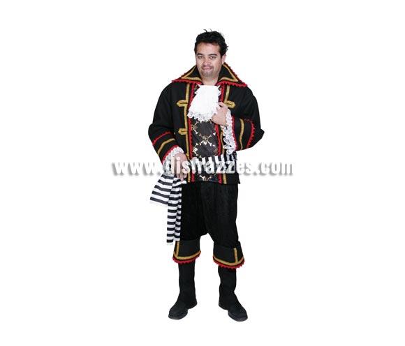 Disfraz de Pirata Negro adulto para Carnaval. Alta calidad. Hecho en España. Talla única 50. Incluye chaqueta, pechera, camisa, fajín, cinturón y cubrebotas.