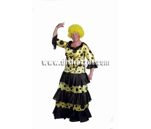 Disfraz de Sevillana hombre adulto para Carnaval y para Despedidas de Soltero. Alta calidad. Hecho en España. Talla única 50. Peluca NO incluida, podrás  verla en la sección Pelucas. Flor NO incluida.
