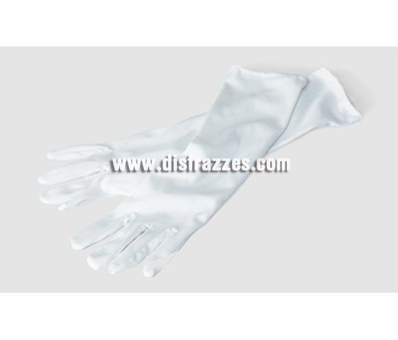Guantes largos blancos adaptables de 37 cm. para Carnaval.