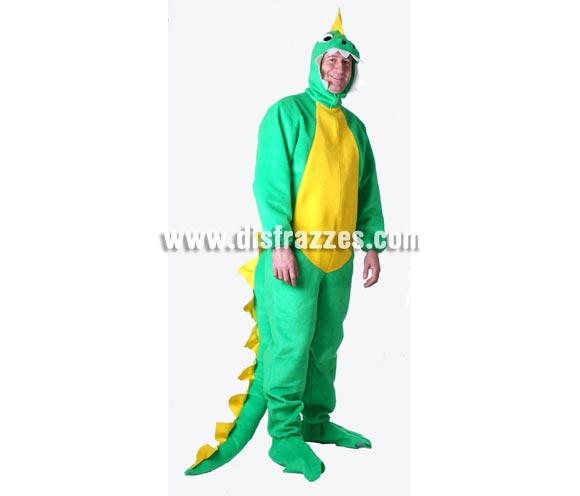 Disfraz de Dinosaurio o Dragón adulto para Carnaval. Alta calidad, hecho en España. Disponible en varias tallas. Incluye mono con capucha.